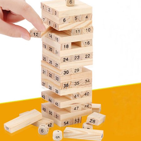 48PCS/Set Wooden Column Building Blocks Game Children Education Toy Number DIY Bricks Toys Baby Wood Blocks Toy Gift - image 3 de 6