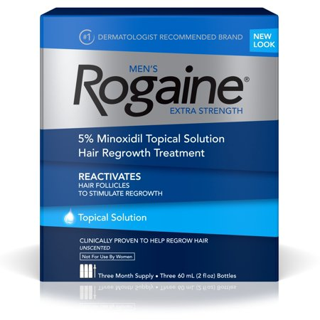 Men's Rogaine Extra Strength 5% Minoxidil Solution, 3-Month Supply (2 Pack)
