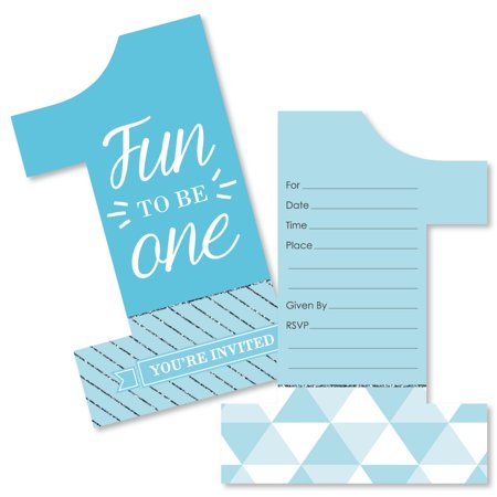 1st Birthday Boy - Fun To Be One - Shaped Fill-In Invitations - First Birthday Party Invitations - Set of - 70s Birthday Invitations