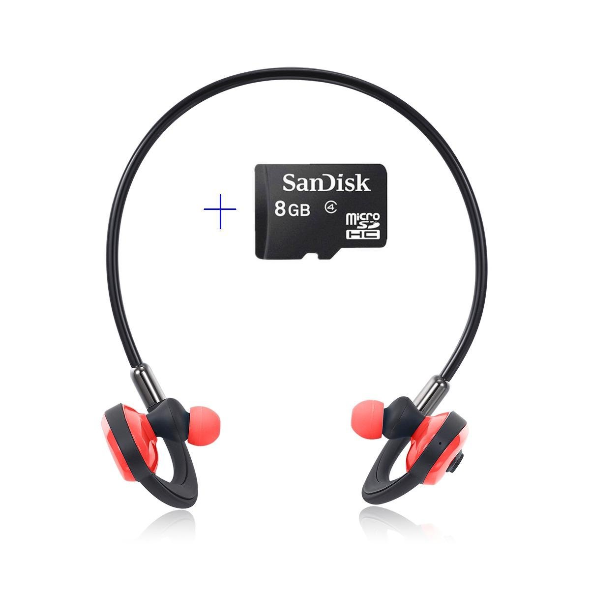 Bluetooth Swimming Headset HXY Wireless Headphones with 8GB Memory Noise_Cancelling in Ear Red
