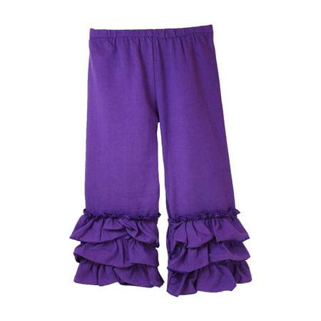 Girls Purple Triple Tier Ruffle Cuffed Cotton Spandex Pants - Young Girls Spandex