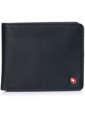 Alpine Swiss RFID Mens Wallet Deluxe Capacity Passcase Bifold Two Bill Sections