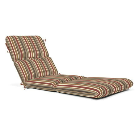 Sunbrella Striped Outdoor Chaise Cushion 74 x 22 in. - Brannon (Redwood Cushions)