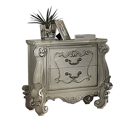 ACME Two Drawers Wooden Nightstand with Carved Details, Bone White