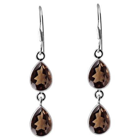 925 Sterling Silver 7.00 Carat Smoky Quartz Gemstone Dangle Earrings ()