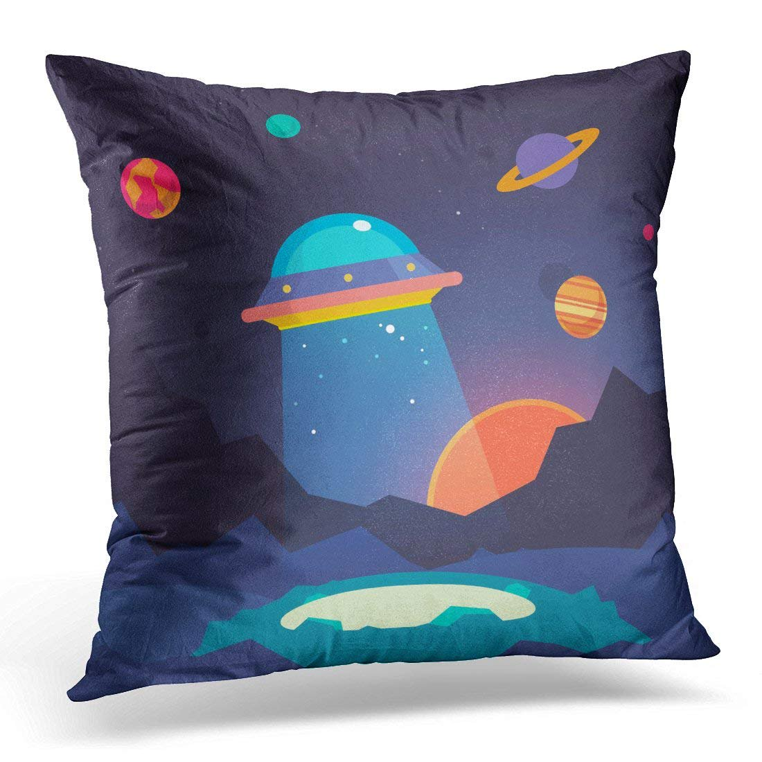 Erehome Space Night Alien World Landscape And Ufo Spaceship With Beam Of Light On Starry Sky Flat Planet Pillow Case Pillow Cover 20x20 Inch Walmart Canada
