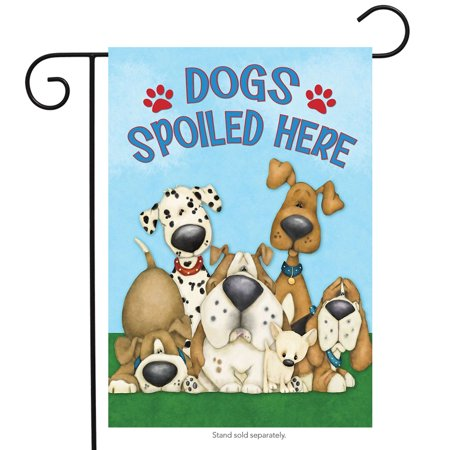 dogs spoiled here garden flag humor puppies 12.5