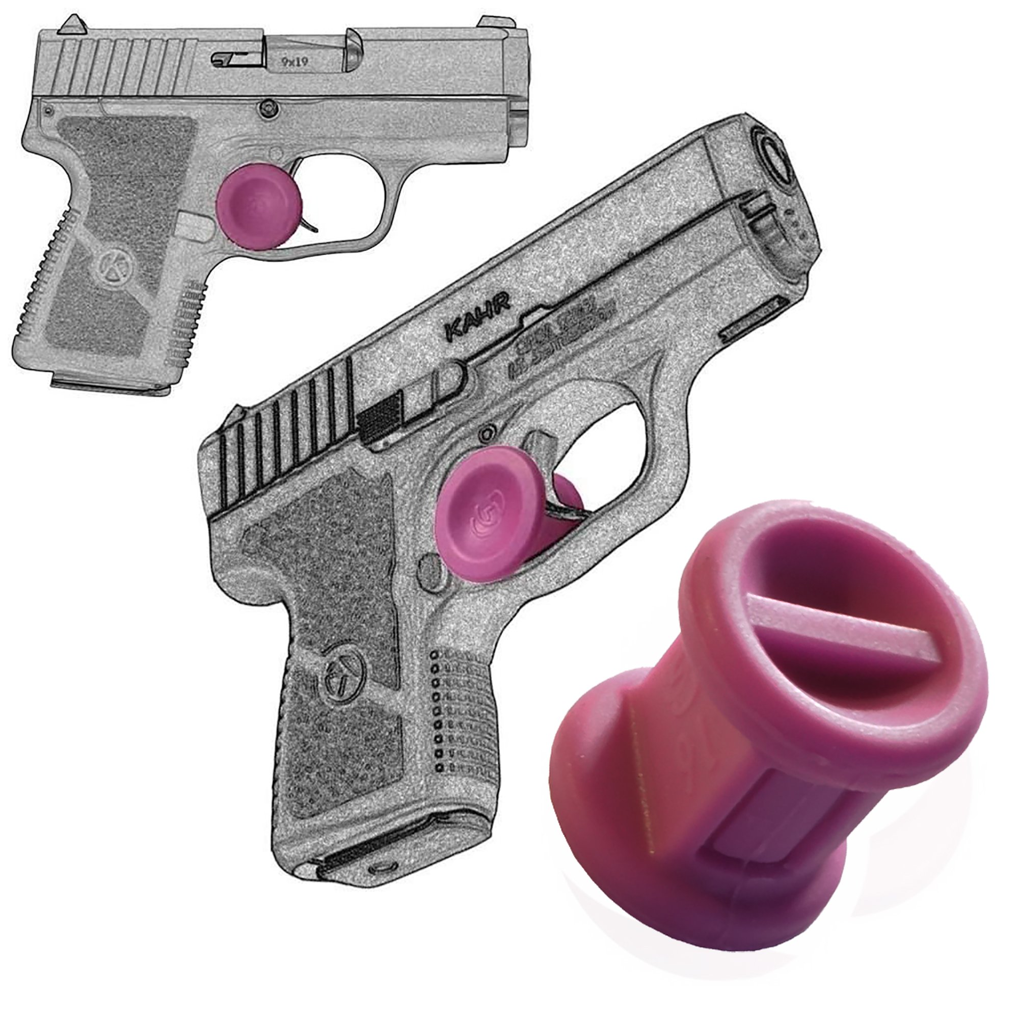 Garrison Grip TWO Micro Trigger Stop Holsters Kahr CW9 9mm & All Kahr Models s18 Pink