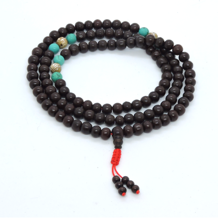 Handmade Rosewood 108 beads mala prayer beads with buddha of compassion conch shell and turquoise spacers for meditation (Rosewood Mala Beads)