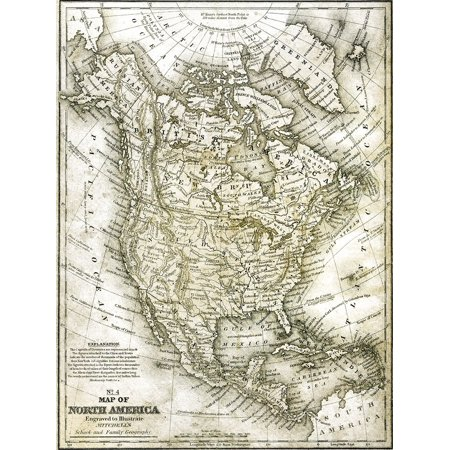 No 4 North America Map Poster Print by Allen Kimberly (9 x 12)