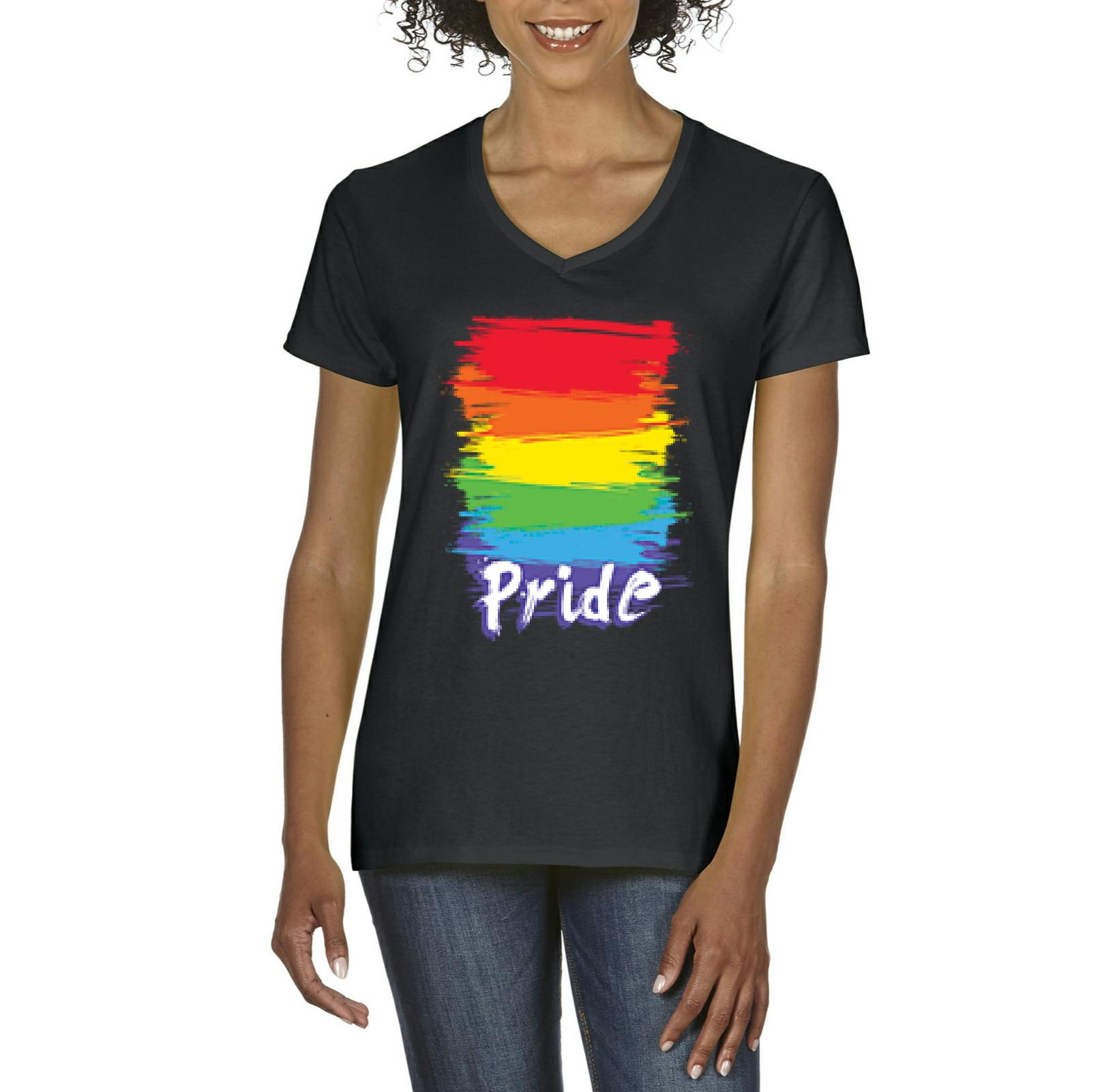 J_H_I Rainbow Pride Gift for Gay LGBT Family Friend Birthday Christmas Party Womens Shirts V-neck