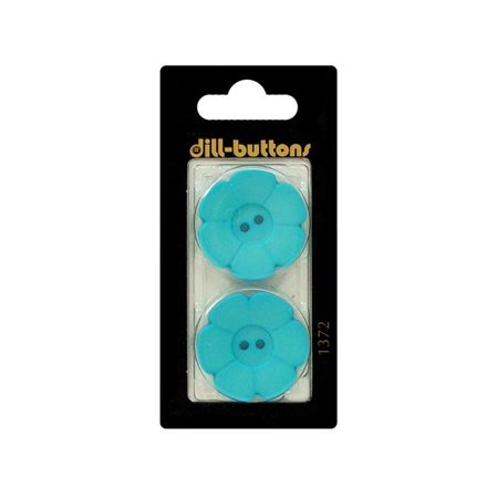 Dill Buttons 28mm 2pc 2 Hole Flower Blue