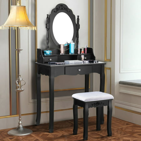 Costway Vanity Makeup Dressing Table Stool Jewelry Desk (List Of Makeup Brands That Test On Animals)
