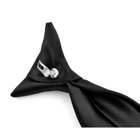 Moda Di Raza - Boy's NeckTie Solid Clip on Polyester Tie - Black/11