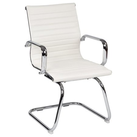 Office Star Work Smart Mid Back Faux Leather Guest Chair In White