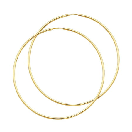 FB Jewels 14K Yellow Gold 1.5mm Round Tube Polished Endless Hoop Womens Earrings 55MM X 55MM