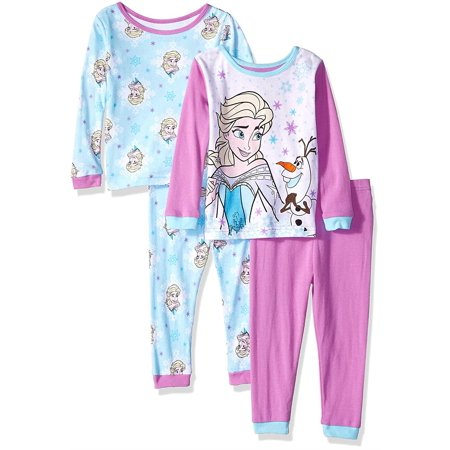 Disney Toddler Girls' Elsa Frozen Pajama Top and Pajams Pants Sleepwear Set, 4-Piece-Elsa-Lavender, Size: 4T Disney Store Princess Pj