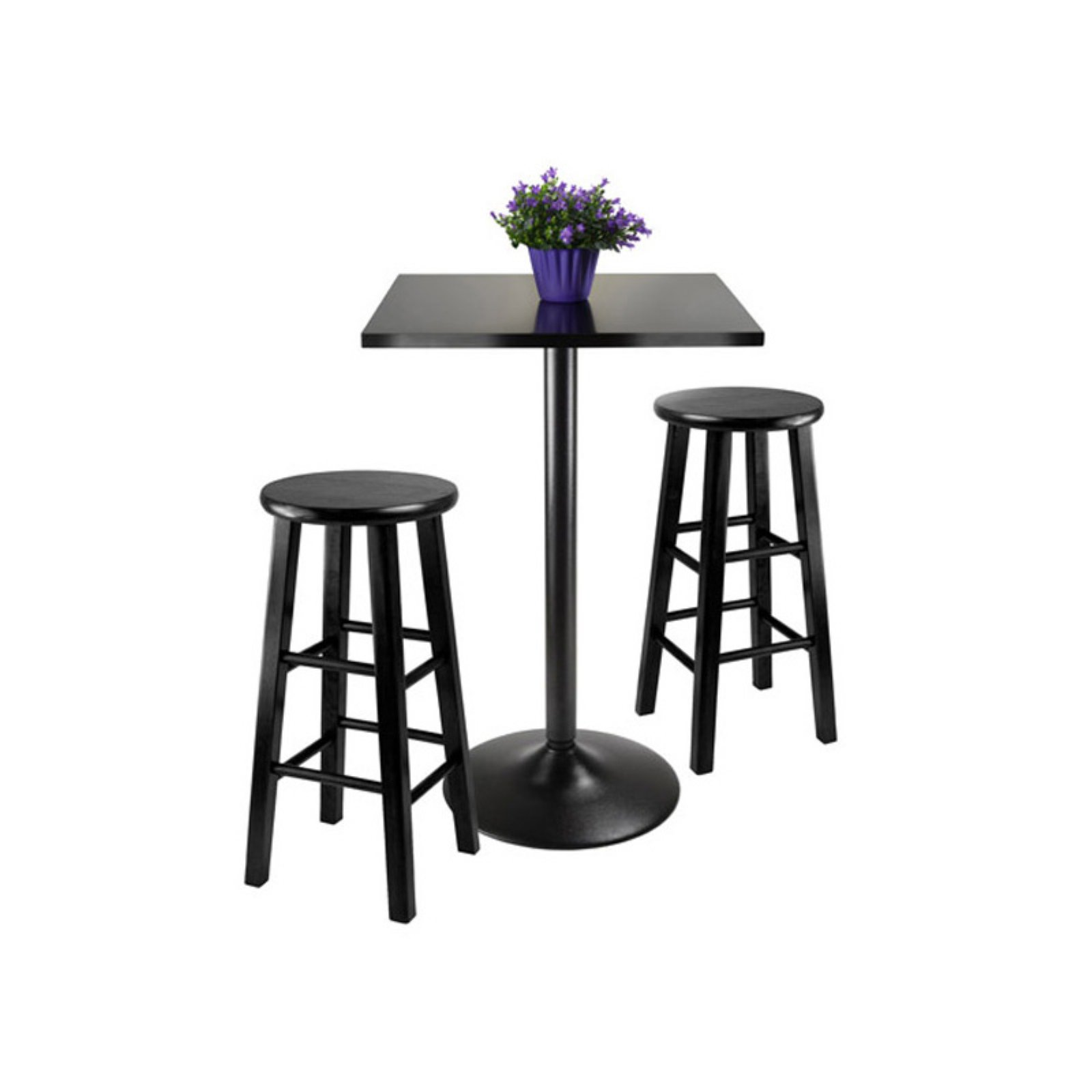 Winsome Wood Obsidian 3pc Black Pub Table and Counter Stools Set