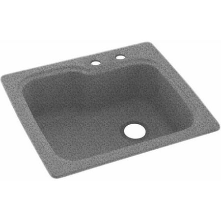 """Swan Solid Surface Kitchen Sink (25"""" x 22"""") with 2 Faucet Holes"""