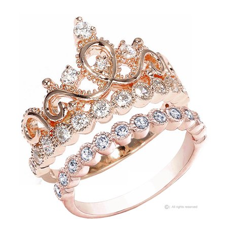 Guliette Verona Sterling Silver Princess Crown Ring And Band Set  Rose Gold Plated
