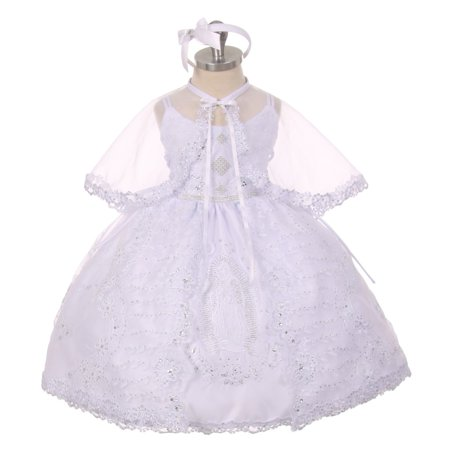 Rainkids Baby Girls White  Rhinestone Virgin Mary Embroidery Baptism Dress 6-12M