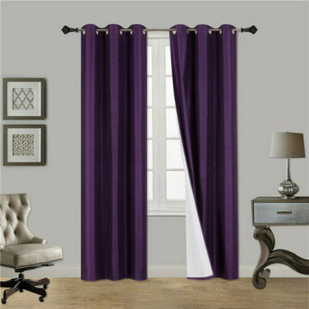 (#32) Hotel Quality Silver Grommet Top, Faux Silk 1 Panel Purple Solid Thermal Foam Lined Blackout Heavy Thick Window Curtain Drapes Grommets 84