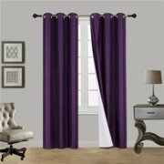 """(#32) Hotel Quality Silver Grommet Top, Faux Silk 1 Panel Purple Solid Thermal Foam Lined Blackout Heavy Thick Window Curtain Drapes Grommets 84"""" Length"""