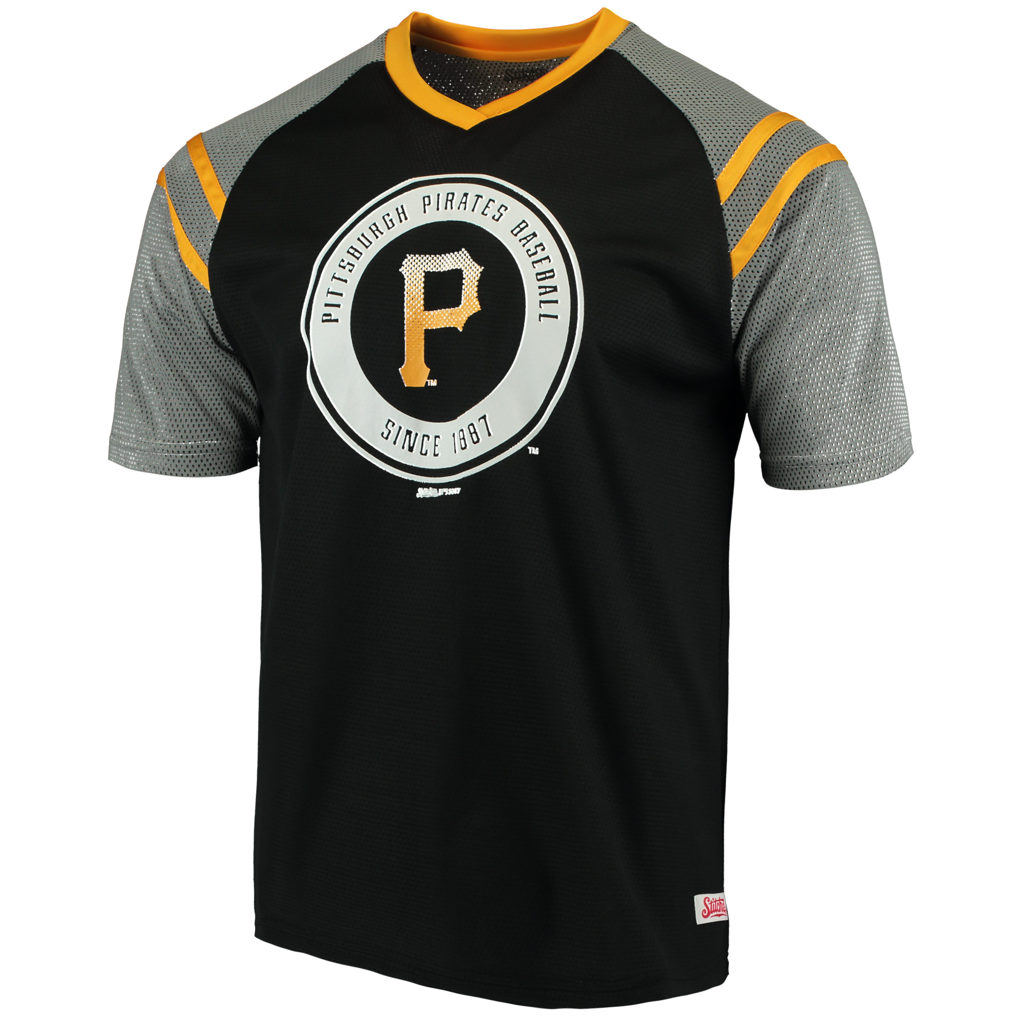 Pittsburgh Pirates Stitches V-Neck Mesh Jersey T-Shirt - Black/Gold