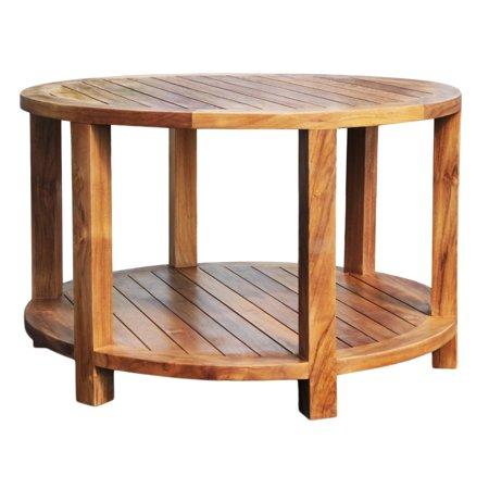 Chic Teak Bahama Teak Round 31 in. Outdoor Coffee Table ...