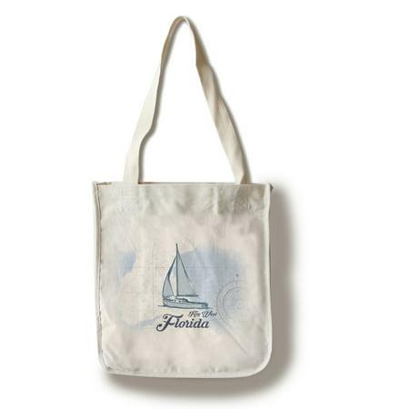 Key West, Florida - Sailboat - Blue - Coastal Icon - Lantern Press Artwork (100% Cotton Tote Bag - (Key West Sailboat)