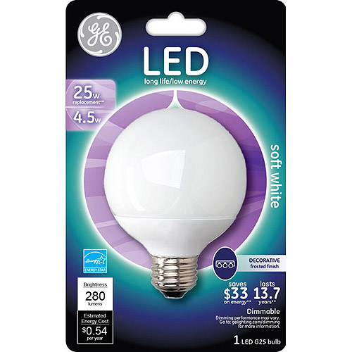 GE 4.5 watt (25 watt Equivalent) Med Base G25 Soft White Globe LED, 1-Pack