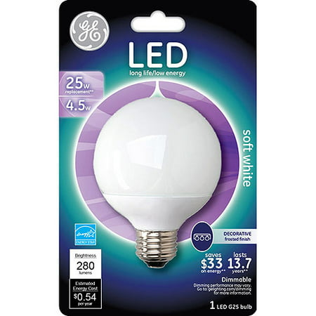 GE 4 5 watt (25 watt Equivalent) Med Base G25 Soft White Globe LED, 1-Pack