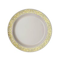 """10pcs 6"""" Ivory Disposable Round Salad Dessert Plates With Gold Lace Rim Set of 2"""