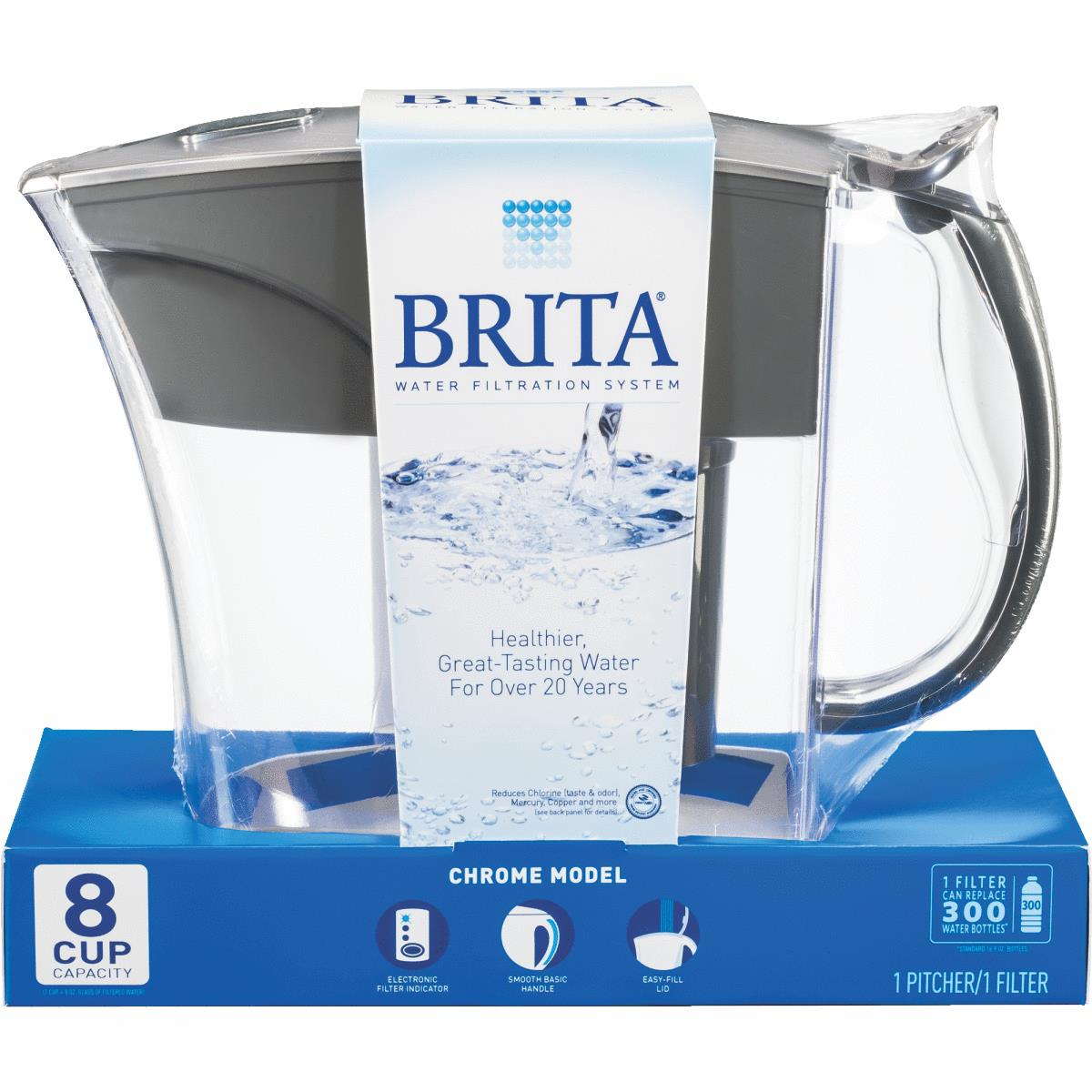 brita chrome water filter pitcher 8 cup