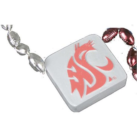 Washington State Cougars Football Sport Bead Medallion Necklace - Football Bead Necklaces