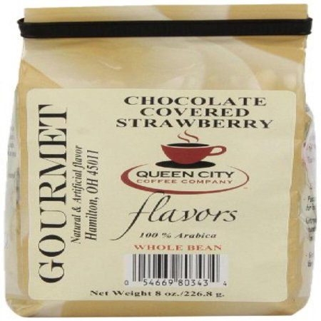 Queen City Chocolate Covered Strawberry Flavored Whole Bean Coffee  8 Ounce Bags   3