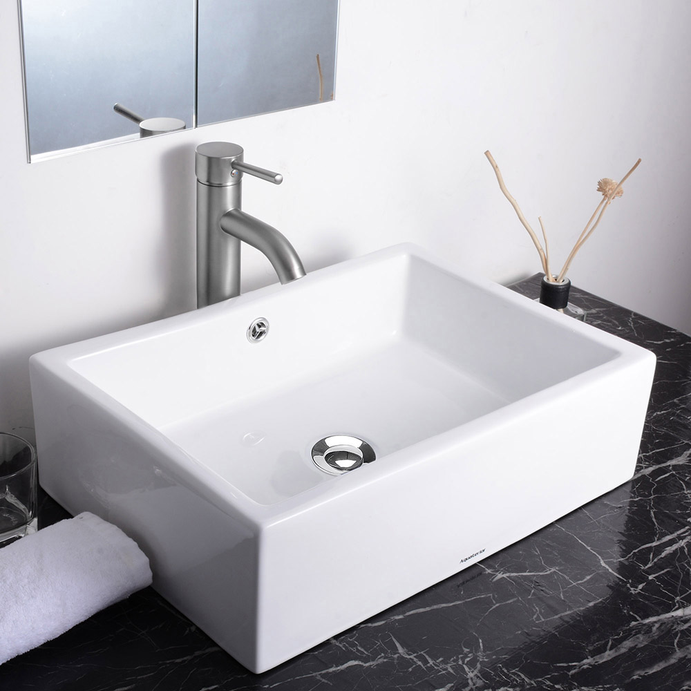 Aquaterior Rectangle White Porcelain Ceramic Bathroom Vessel Sink Bowl Basin with Chrome Drain