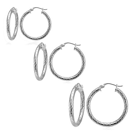 Set of 3 Sterling Silver 2.5mm Diamond-Cut Polished Hoop Earrings, 25mm, 30mm, 35mm 35mm Sterling Silver Hoop Earrings