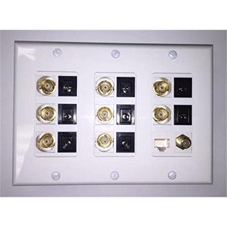 Certicable  White Triple Gang Wall Plate 8- 2.1mm Power 8- BNC 1- RJ45 Cat5 1- Coax