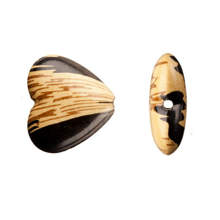 Wood Print Heart Acrylic Beads 24x22mm Sold per pkg of 50Gram/20pcs