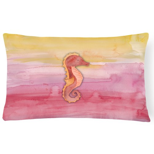 Zoomie Kids Tyson Seahorse Watercolor Lumbar Pillow