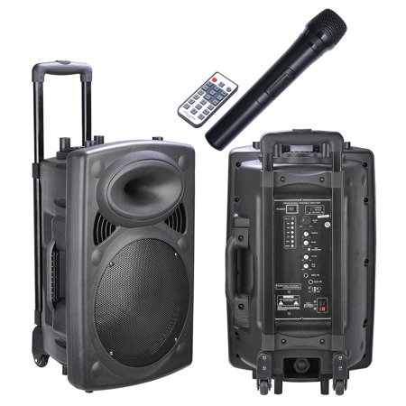 portable active pa speaker mic guitar amp bluetooth usb sd lcd fm remote w wireless microphone. Black Bedroom Furniture Sets. Home Design Ideas