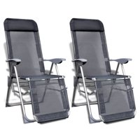 Folding Garden Chairs 2 pcs Aluminium and Textilene Gray