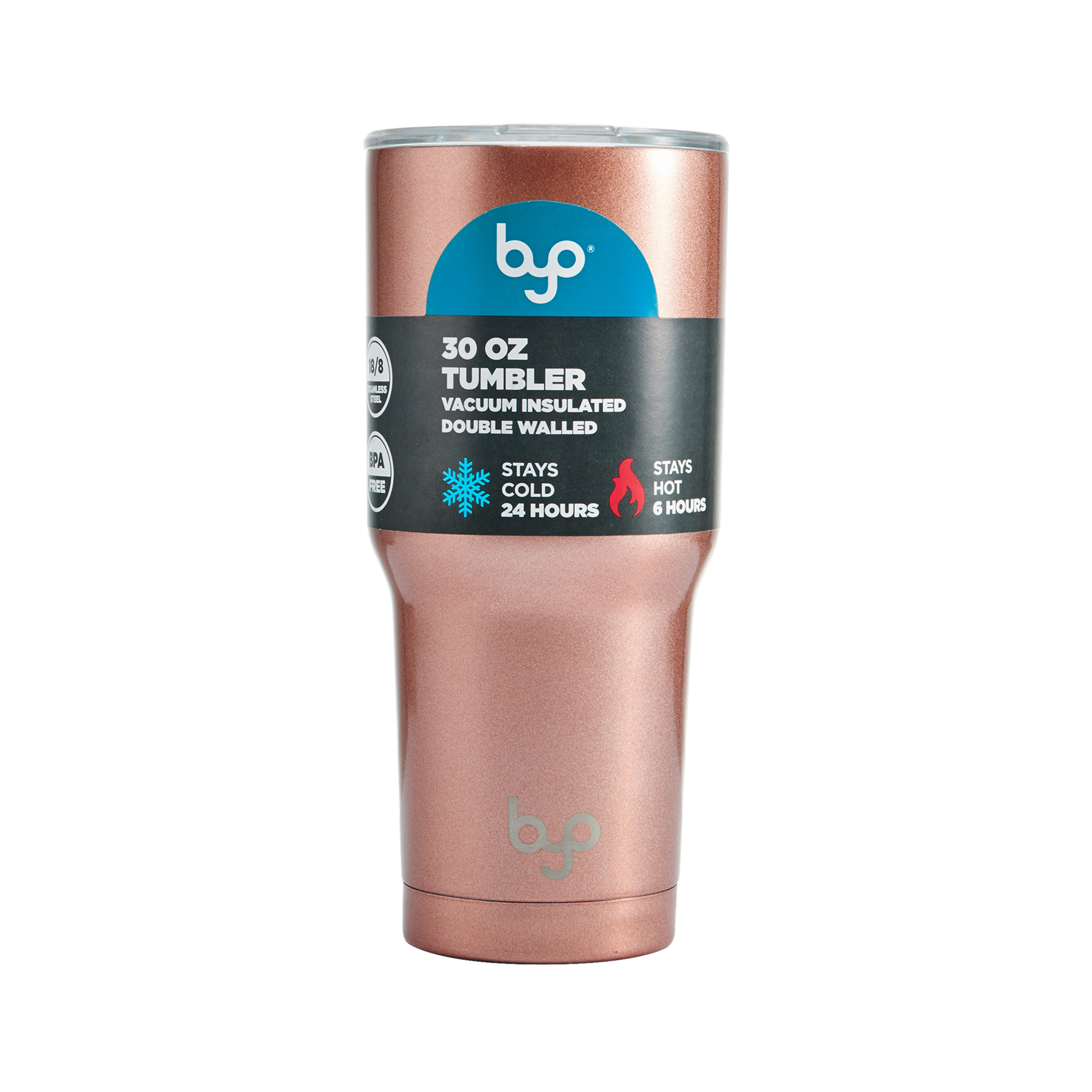 7dc429c341f BYO 30 Ounce Rose Gold Double Wall Vacuum Insulated Tumbler - Walmart.com