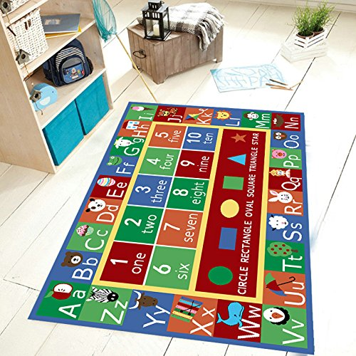 Kids Abc Alphabet Numbers Educational Area Rug Non Skid Rug Size 4'5 x6'9