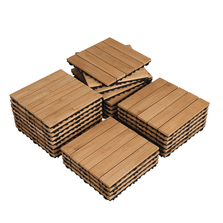 Yaheetech 12x12'' Patio Deck Tiles Interlocking Wood Flooring Pavers Tiles Outdoor 27pcs