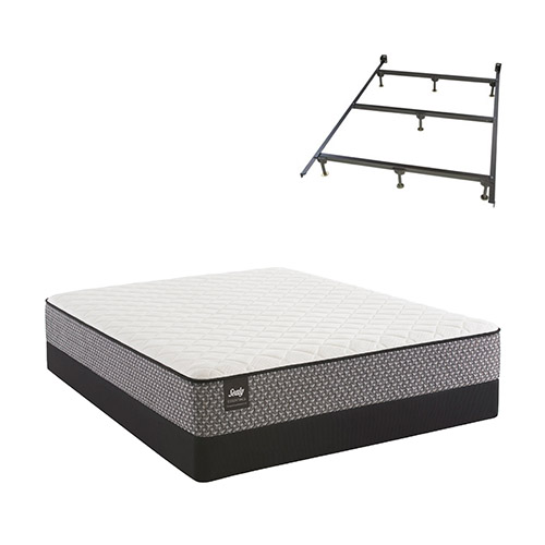 Bernstein Queen Size Plush Tight Top Mattress and Low Profile Split Box Spring Set with Frame Sealy Response Essentials... by Sealy
