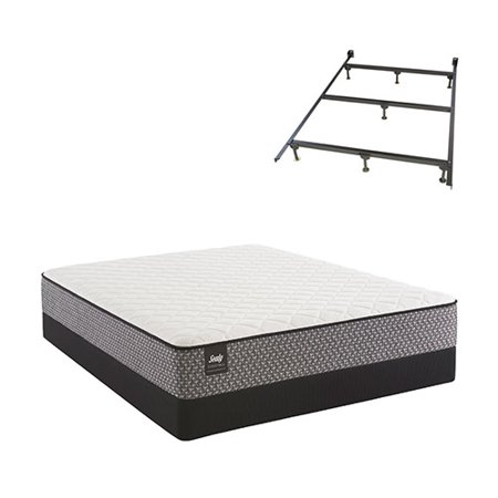bernstein queen size plush tight top mattress and low profile split box spring set with frame. Black Bedroom Furniture Sets. Home Design Ideas