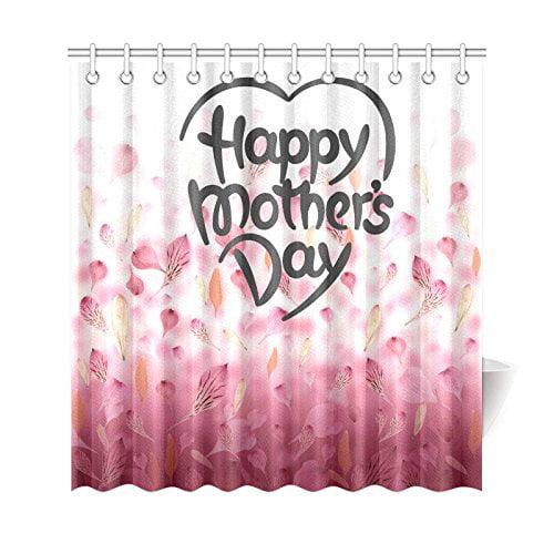 GCKG Falling Pink Flower Petals Shower Curtain Happy Mothers