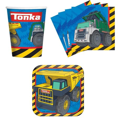 Tonka Construction Trucks Birthday Party Supplies Set Plates Napkins Cups Kit for 16 by, (16) 7 Inch (17.7cm) Paper Plates By Designware - Tonka Truck Party Supplies